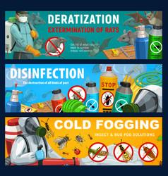 Pest control banners disinfection deratization vector