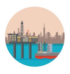 Petroleum sea plataform vector