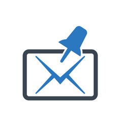 Pinned mail icon vector