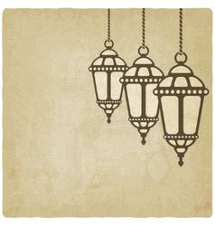 Ramadan lantern old background vector image