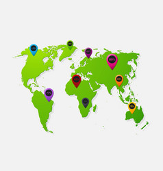 realistic paper sticker map world vector image