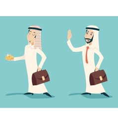 Retro Vintage Arab Businessman with Gold Greeting vector image