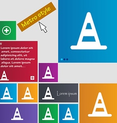 Road cone icon sign Metro style buttons Modern vector