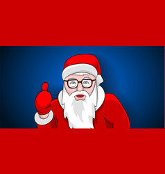 santa claus thumbs up portrait on blue background vector image
