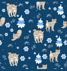 seamless pattern with lynxes in winter vector image