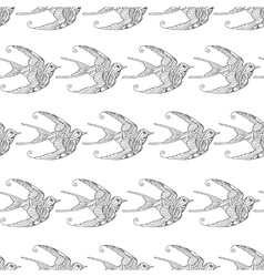 Seamless pattern with ornamental swallow birds vector image