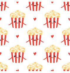seamless pattern with popcorn characters vector image