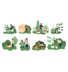 Set farming activities for a farmer and wife vector