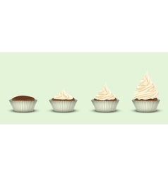 Set of 4 cupcakes with a different amount of cream vector image
