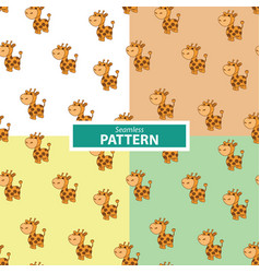set of seamless patterns with a giraffe vector image vector image