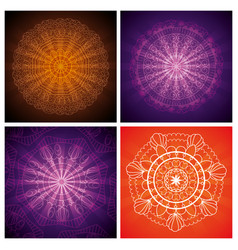 Set ornamental flowers hindu mandalas vector