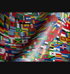 Set wave flags all countries in vector