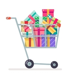 Shopping cart purchase gift flat design character vector