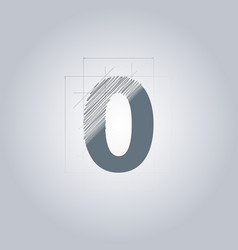 Sign number zero logotype architectural design vector