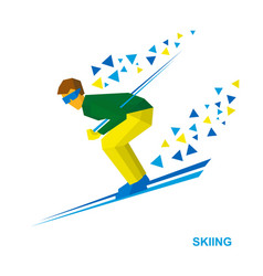 Skiing cartoon skier running downhill vector