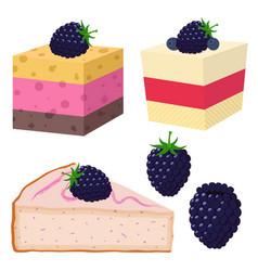Slice cake with blackberry desserts vector