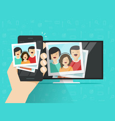 Smartphone connected to tv showing photos vector