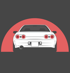Sport japan car on red sun background vector