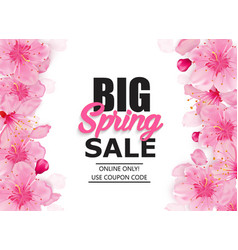 Spring sale colorful banner with sakura flower vector