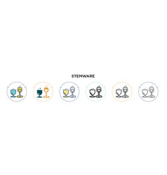 Stemware icon in filled thin line outline and vector