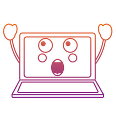 Suprised laptop kawaii icon image vector