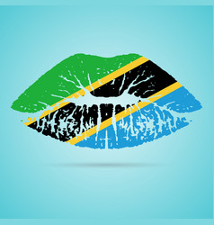 tanzania flag lipstick on the lips isolated on a vector image