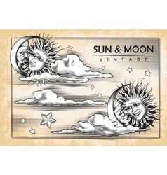 The moon sun clouds Set of vintage elements vector