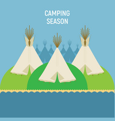 tourist indian tents for outdoor recreation a vector image