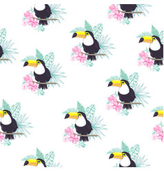 Tropical seamless pattern with toucans exotic vector