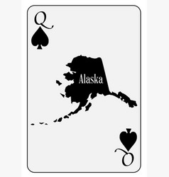 Usa playing card queen spades vector