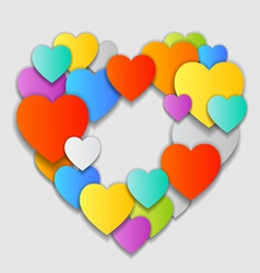 Valentines Day Card with beautiful colorful hearts vector image