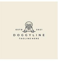 vintage line art dog logo design vector image