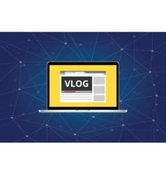 vlog video blog on laptop with video player vector image vector image