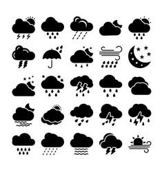 Weather glyph icons set 1 vector