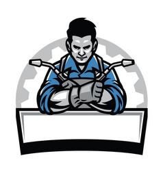 Welder with welding tools badge vector