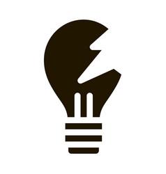 Wrecked lightbulb icon glyph vector