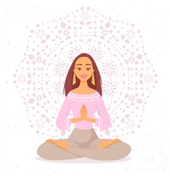 Yoga girl mandala vector