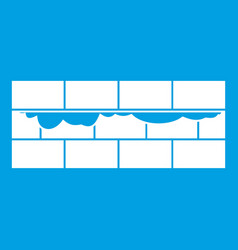 brick wall icon white vector image