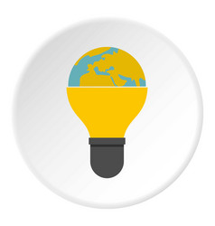 light bulb and planet earth icon circle vector image