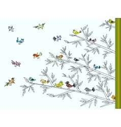 Tree with colorful cute birds vector image