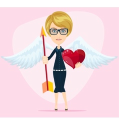 Beautiful girl cupid vector image