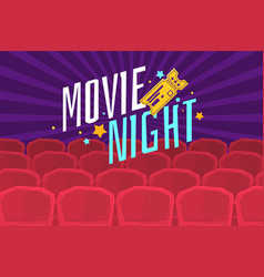 colorful poster movie night with cinema tickets vector image
