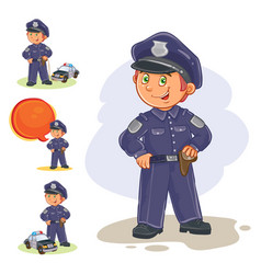 icons of small child policeman and his vector image vector image