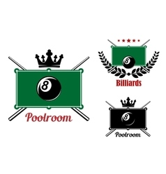 Pool snooker and billiards emblems vector image vector image