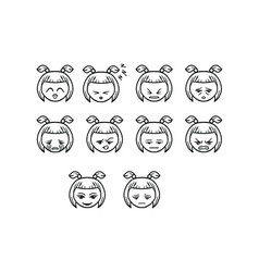 thin line emoticon icon set vector image