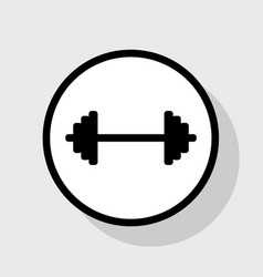 dumbbell weights sign flat black icon in vector image