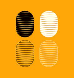 fingerprint set black and white icon vector image vector image