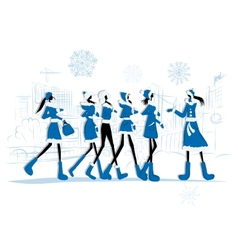 Girls in winter coats city background for your vector image vector image