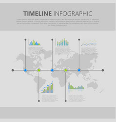 timeline infographic with graph and diagram vector image vector image