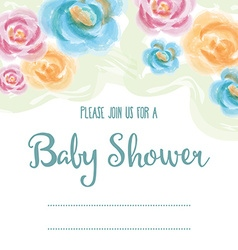 baby shower card with watercolor flowers vector image vector image